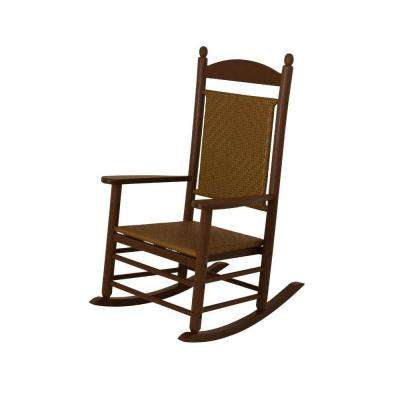 Jefferson Mahogany Woven Patio Rocker with Tigerwood Weave
