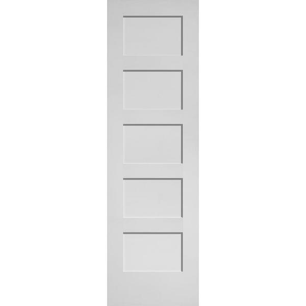 24 in. x 80 in. MDF Series Smooth 5-Panel Equal Solid Core Primed Composite Interior Door Slab