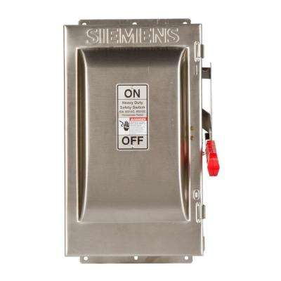 Heavy Duty 60 Amp 600-Volt 3-Pole Type 4X Fusible Safety Switch