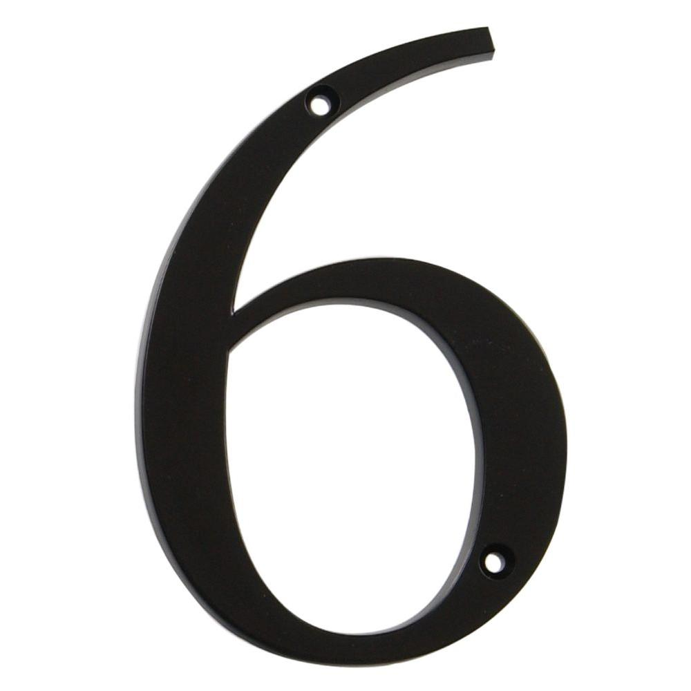The Hillman Group Distinctions 4 in. Flush Mount Metal Number 6