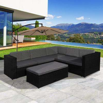 Kaison 4-Piece Sectional Wicker Patio Conversation Set with Storage Ottoman with Gray Cushions