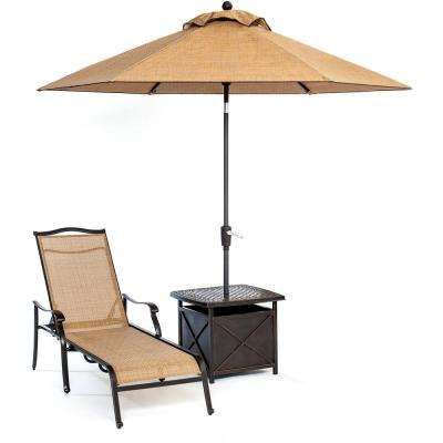Monaco 3-Piece Aluminum Patio Chaise Lounge with 11 ft. Umbrella and Side Table