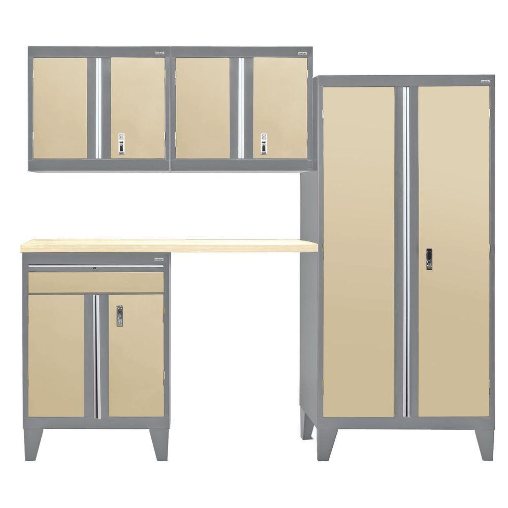 79 in. H x 96 in. W x 18 in. D Modular Garage Welded Steel Cabinet Set in Charcoal/Tropic Sand (5-Piece)