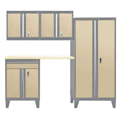 79 in. H x 96 in. W x 18 in. D Modular Garage Welded Steel Cabinet Set in Charcoal/Tropic Sand (5-Piece)