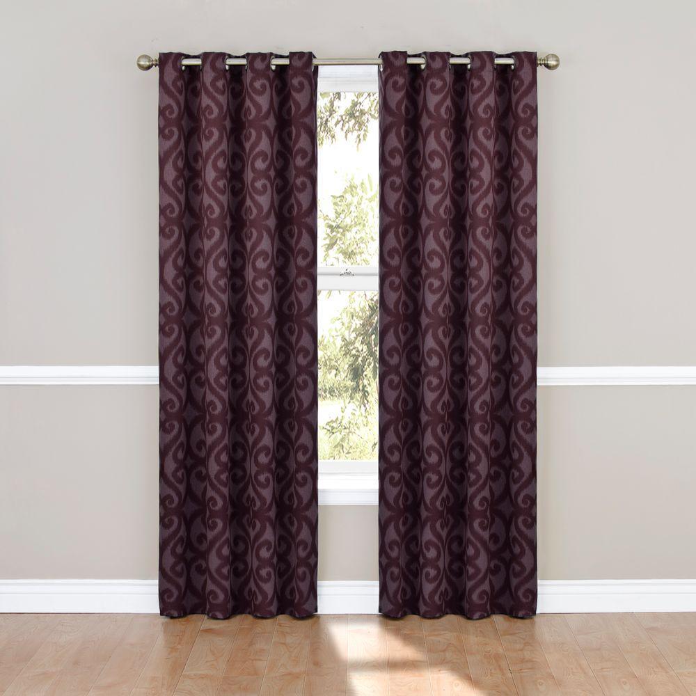 Eclipse Blackout Patricia Blackout Aubergine Grommet Curtain Panel, 63 in. Length
