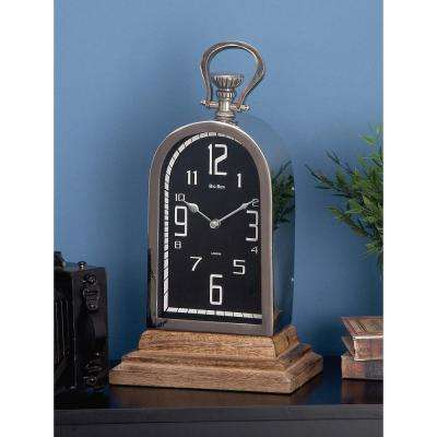 16 in. x 8 in. Stainless Steel and Wooden Table Clock