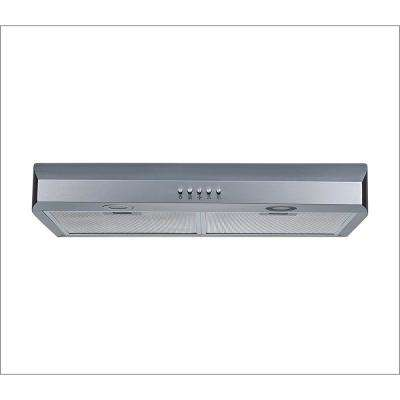 30 in. 250 CFM Under Cabinet Range Hood in Stainless Steel with Aluminum Filters, LED Lights and Push Button