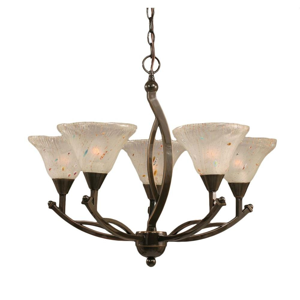 Filament Design Concord 5-Light Onyx Black Chandelier with Frosted Crystal Glass