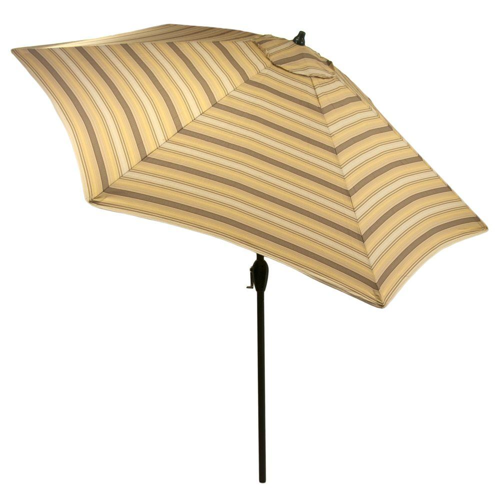 9 Ft. Aluminum Market Patio Umbrella In Cornbread Stripe With Push Button
