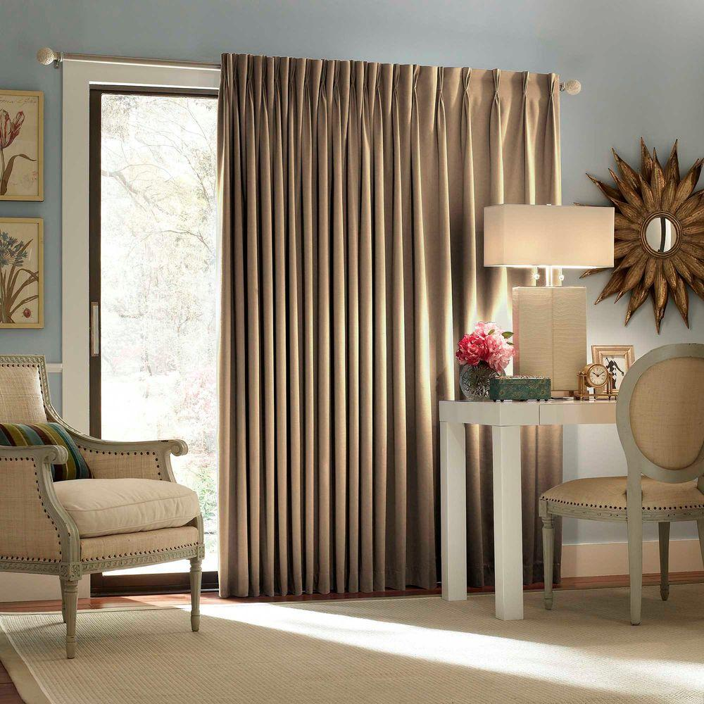 Eclipse Blackout Thermal Blackout Patio Door 84 In. L Curtain Panel In Wheat