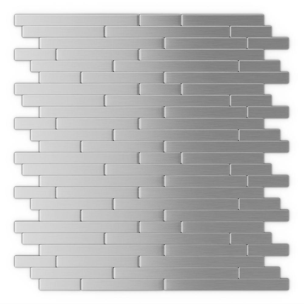 Self Stick Metal Backsplash Tiles Home Depot Metal Tile: Inoxia SpeedTiles Linox 11.88 In. X 12 In. Self-Adhesive