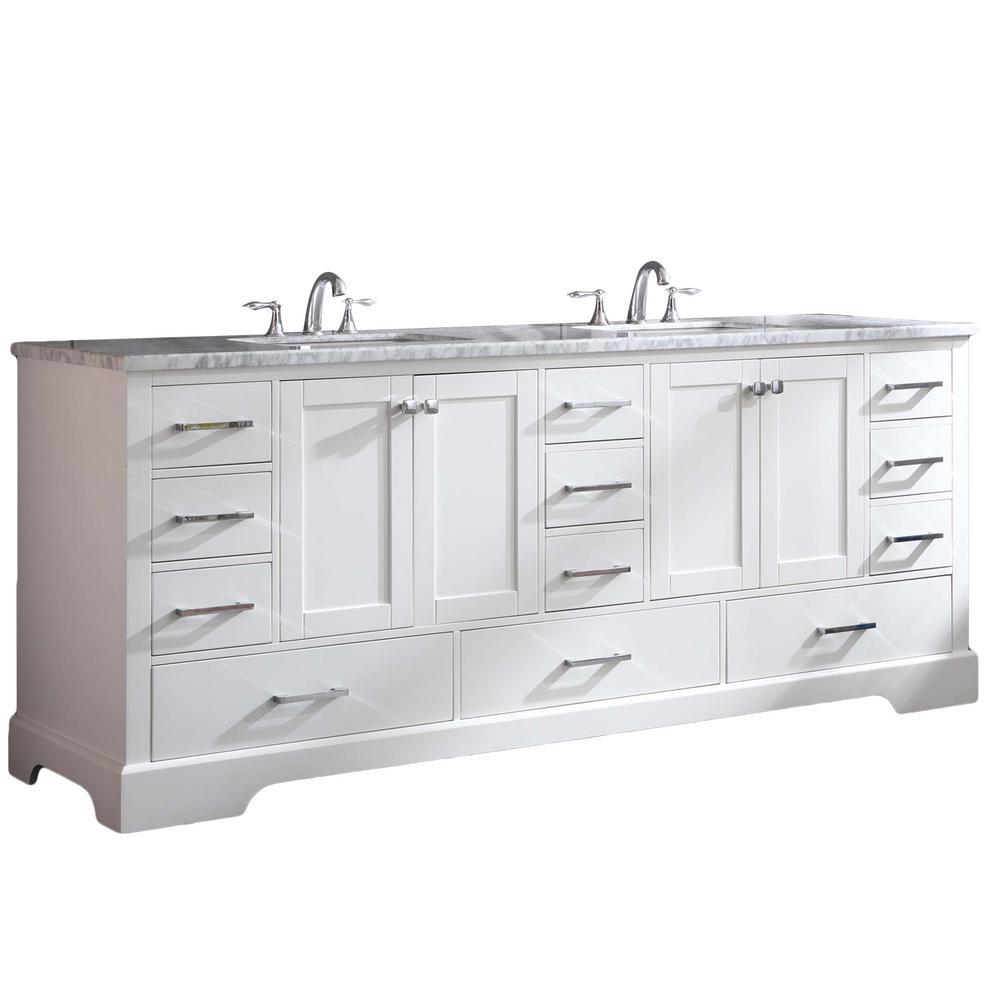 Storehouse 84 in. W x 22 in. D x 34 in. H Vanity in White with Carrara Marble Vanity Top in White with White Basin