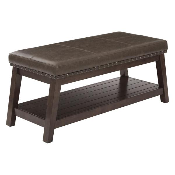 OSP Home Furnishings Emery Entry Mocha Rustic Bonded Leather Bench
