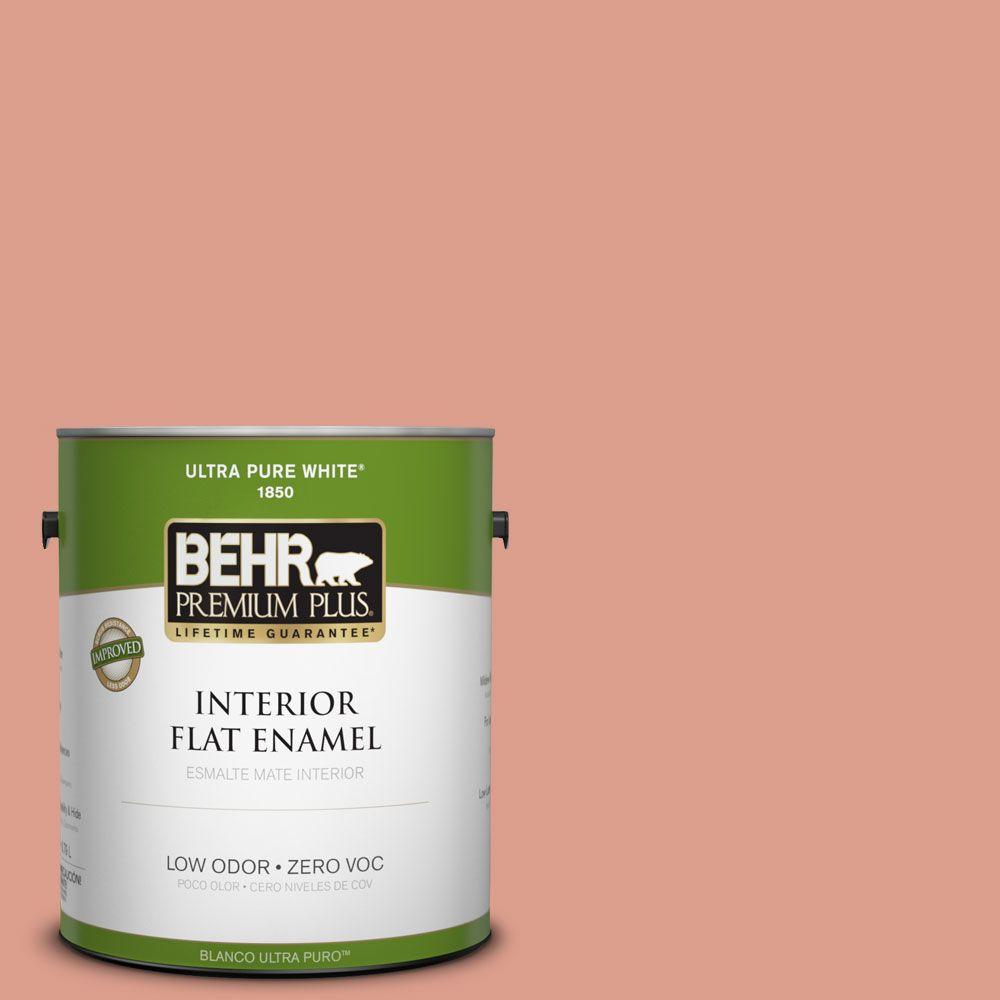 BEHR Premium Plus 1-gal. #210D-4 Medium Terracotta Zero VOC Flat Enamel Interior Paint-DISCONTINUED