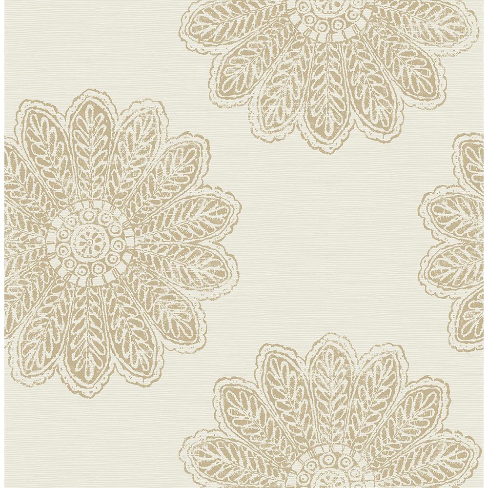 8 in. x 10 in. Sol Light Brown Medallion Wallpaper Sample