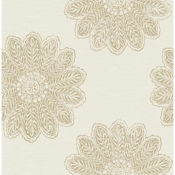 A-Street 8 in. x 10 in. Sol Light Brown Medallion Wallpaper