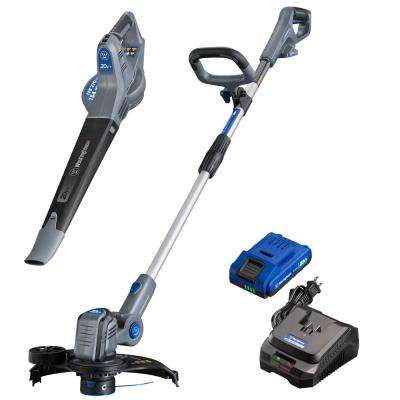 20-Volt Cordless String Trimmer/Edger and Leaf Blower Combo Kit (2-Tool) 2 Ah Battery and Rapid Charger Included