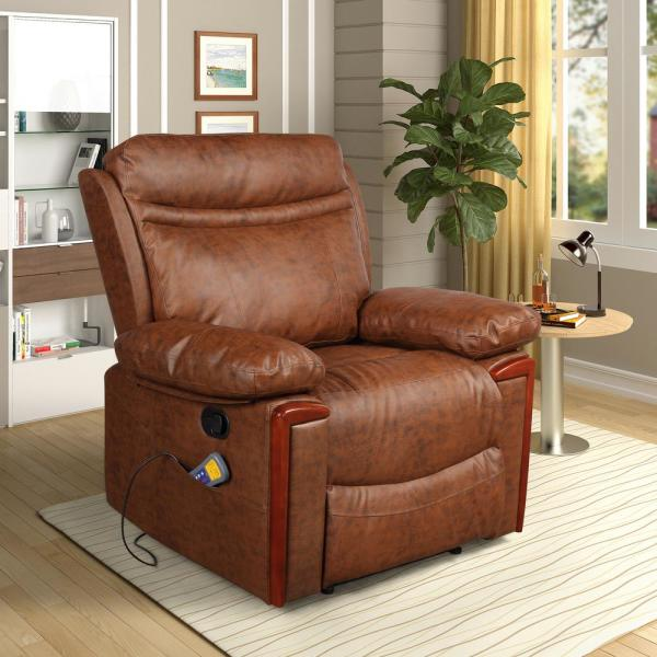 Merax Brown Heating Vibrating PU Leather Massage Recliner Chair