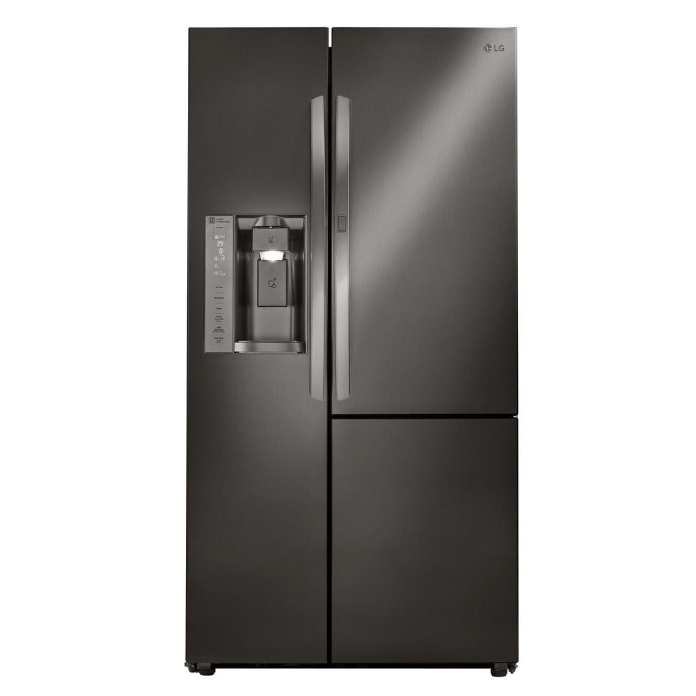LG Electronics 21.7 cu. ft. Side by Side Smart Refrigerator with Door-in-Door and Wi-Fi Enabled in Black Stainless Steel, Counter Depth