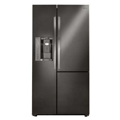 21.7 cu. ft. Side by Side Smart Refrigerator with Door-in-Door and Wi-Fi Enabled in Black Stainless Steel, Counter Depth