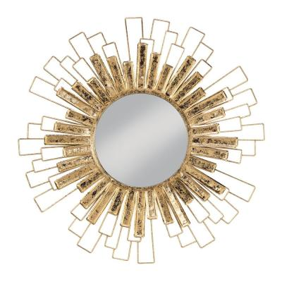31.5 in. x 31.5 in. Classic Round Framed Gold Sunburst Wall Accent Mirror