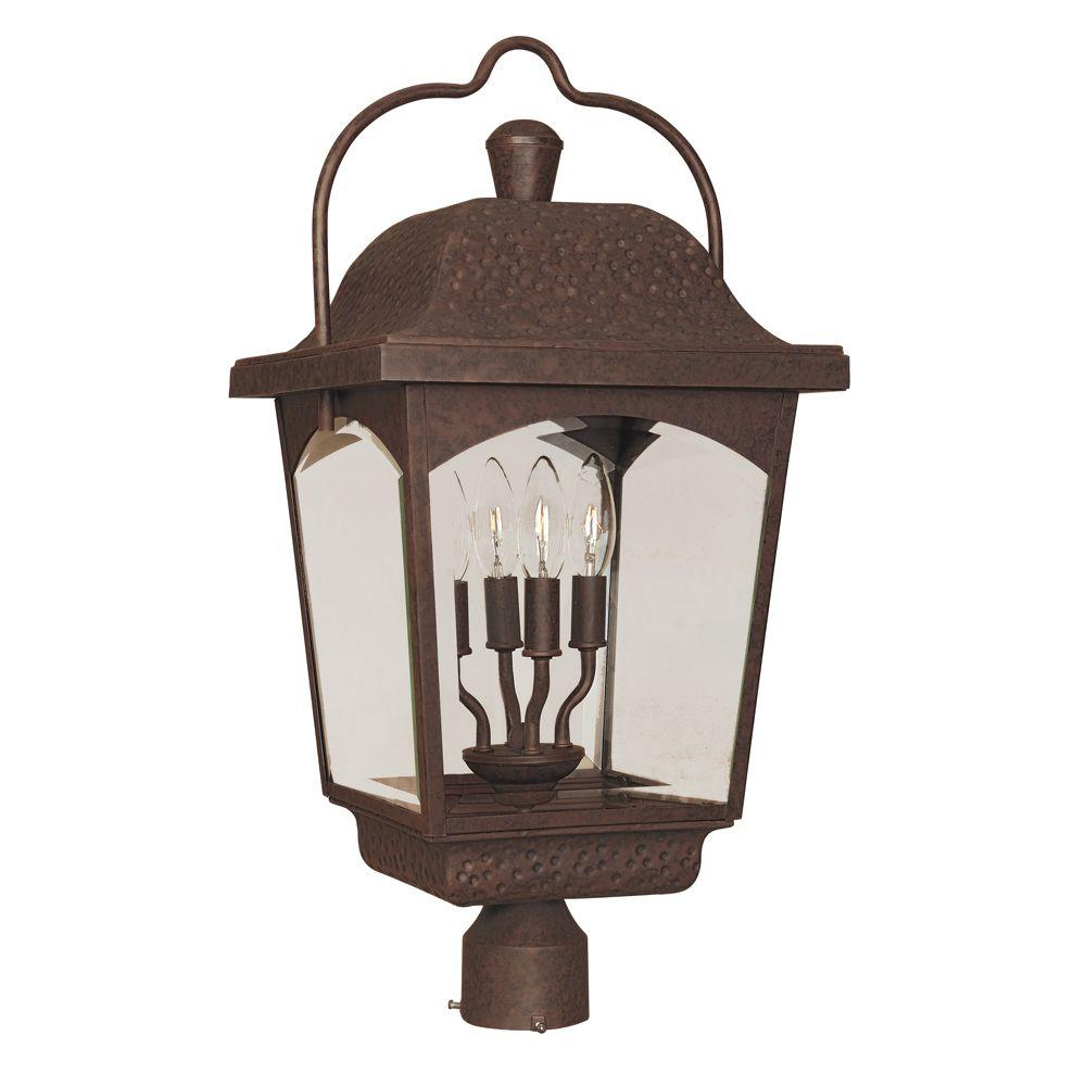World Imports Ayrs Collection 4-Light Bronze Outdoor Post Lantern