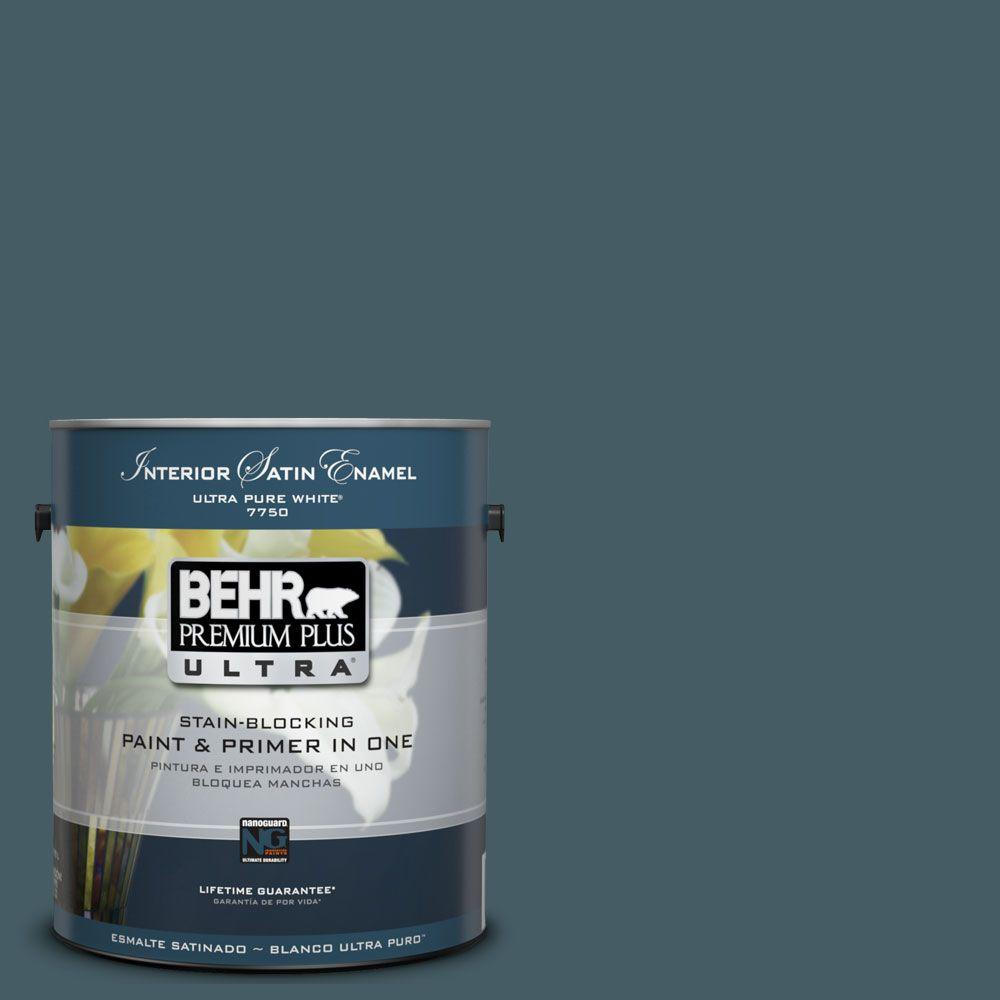 BEHR Premium Plus Ultra 1 gal. #UL230-22 Observatory Satin Enamel Interior Paint and Primer in One