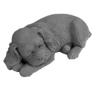 Cast Stone Sleeping Spaniel Puppy Garden Statue Antique Gray