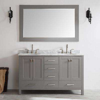 Aberdeen 71 in. W x 22 in. D x 35 in. H Vanity in Grey with Carrara Marble Vanity Top in White with White Basin