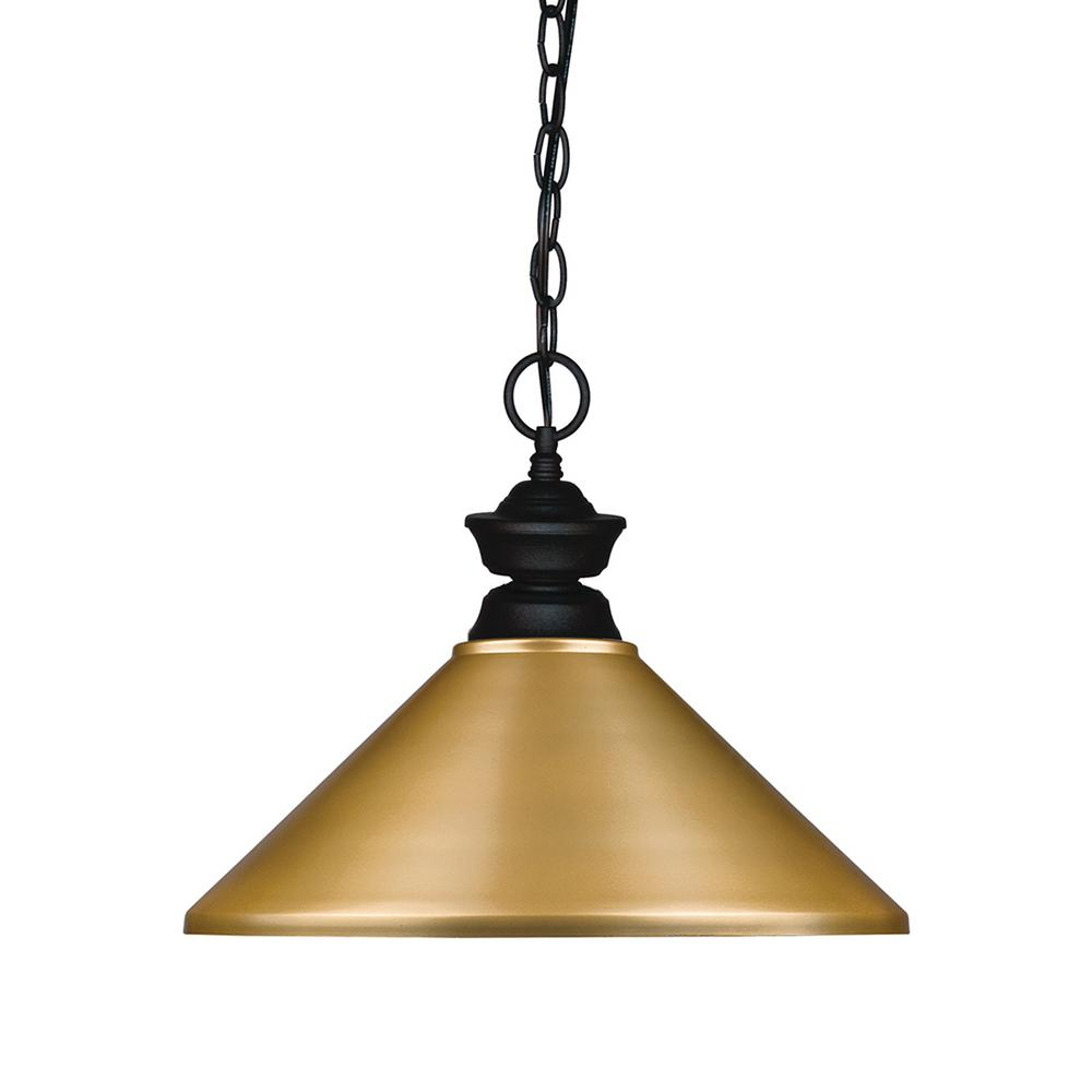1-Light Matte Black Billiard Light