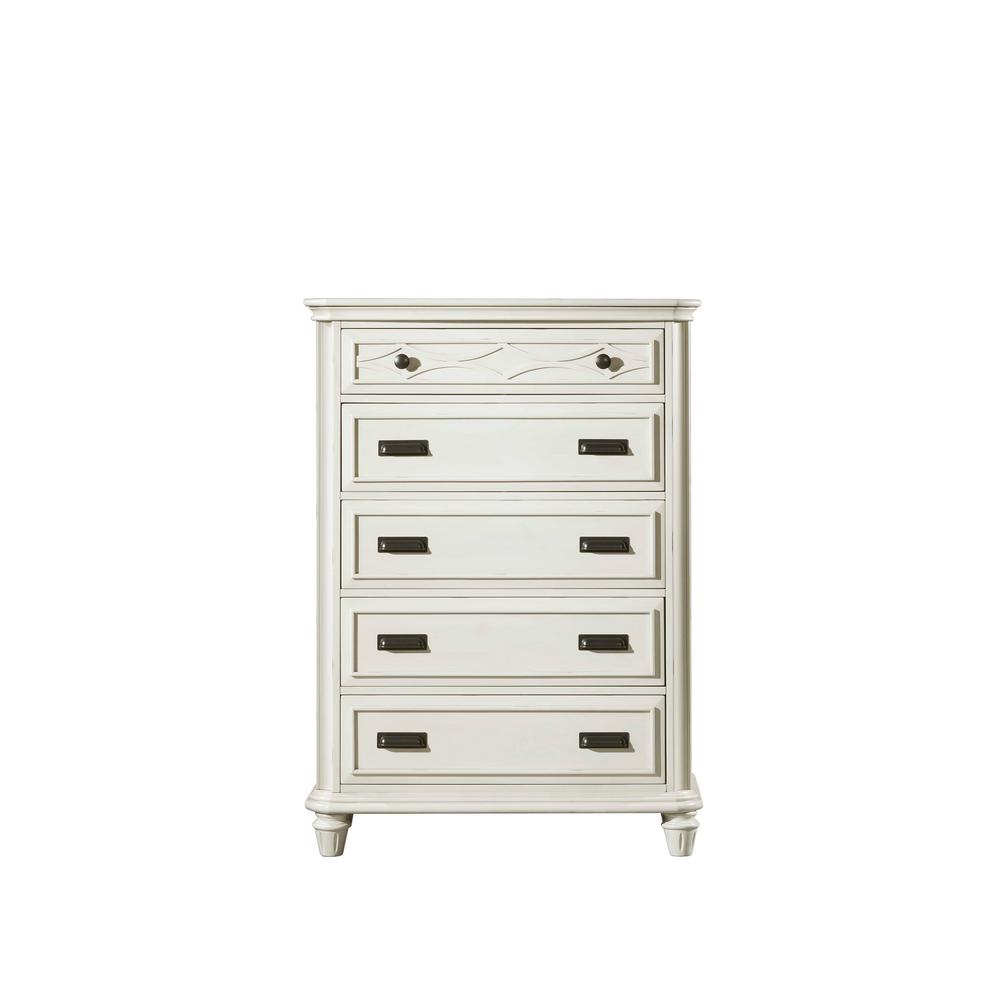 Mysteria Bay 5-Drawer White Flip-Top Mirror Chest-MY700CH - The Home ...