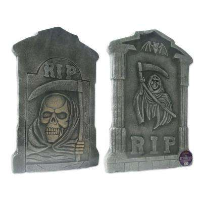 21 in. Spooky Tombstone Sculptures (Set of 2)