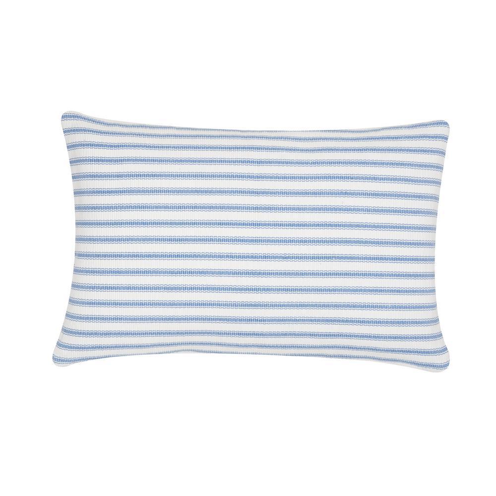 Ticking Cornflower Blue Striped Down Alternative 22 in. x 3 in. Throw Pillow