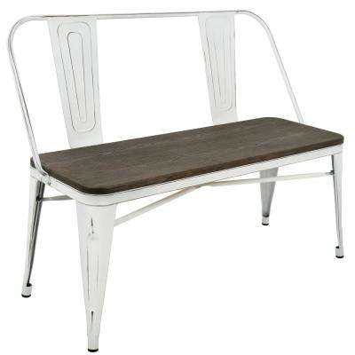 Oregon Vintage White and Espresso Industrial Bench