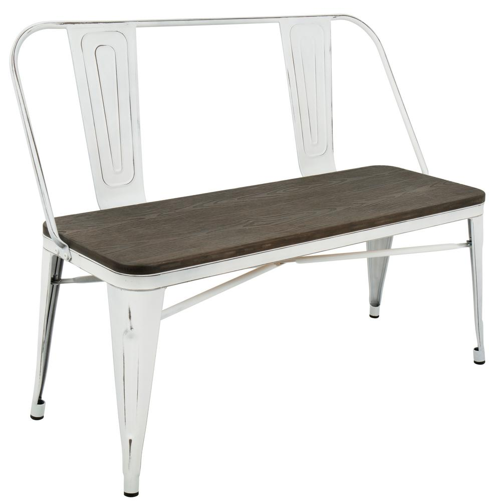 Lumisource Oregon Vintage White And Espresso Industrial Bench Bc Or Vw E The Home Depot