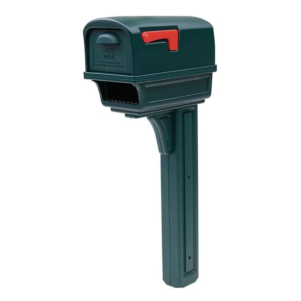 Gentry All-in-One, Large, Plastic, Mailbox and Post Combo, Green