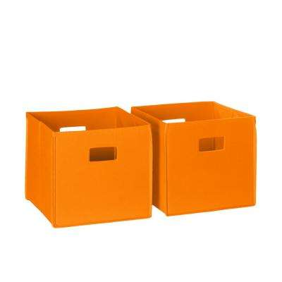 Folding Storage Bin Set Organizer In Orange (2