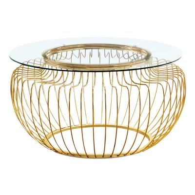 Gold Metal with Glass Coffee Table