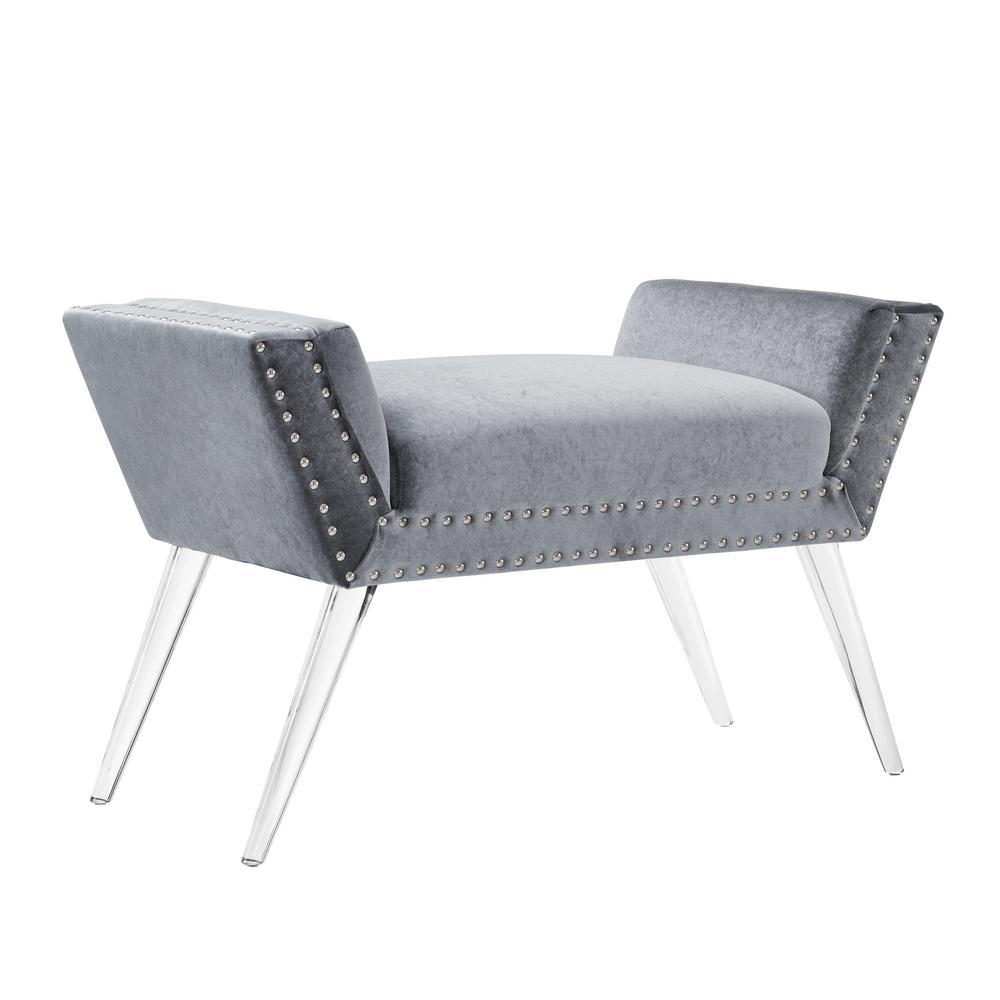 Linon home decor corie silver vanity acrylic leg bench