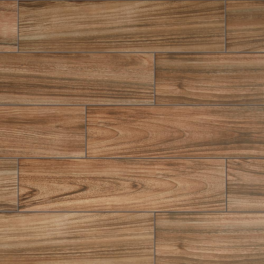 Daltile Baker Wood 5 in. x 5 in. Walnut Glazed Porcelain Floor and Wall  Tile (5.5 sq. ft./Case)