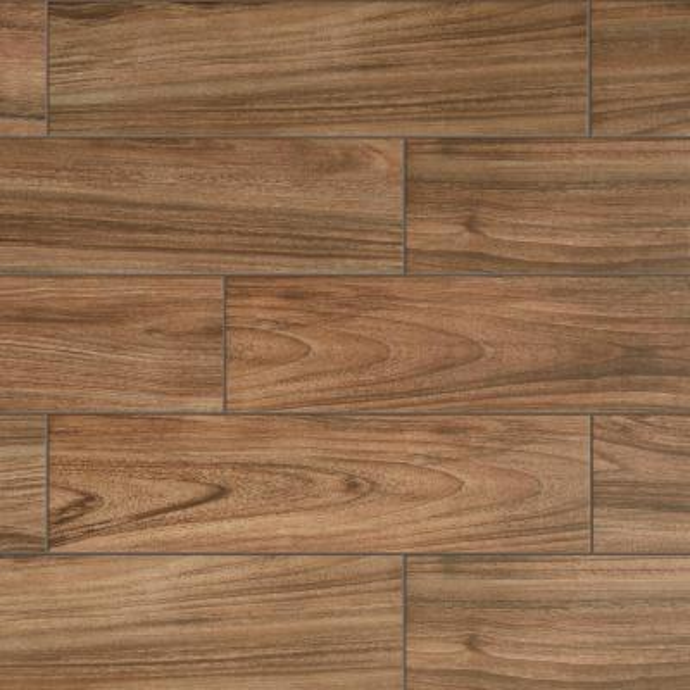 Baker Wood 6 in. x 24 in. Walnut Glazed Porcelain Floor and Wall Tile (14.55 sq. ft./Case)