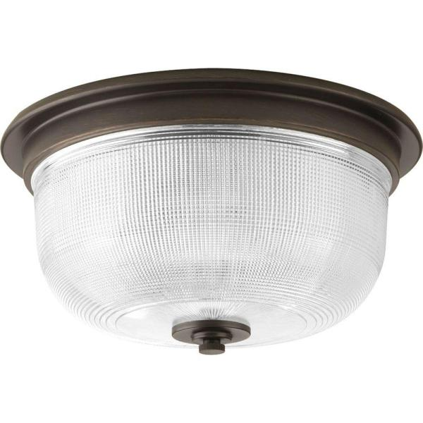 Archie Collection 2-Light Venetian Bronze Flushmount with Clear Prismatic Glass
