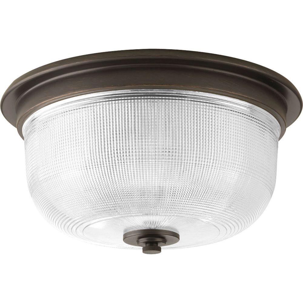 Progress Lighting Archie Collection 2-Light Venetian Bronze Flushmount with Clear Prismatic Glass