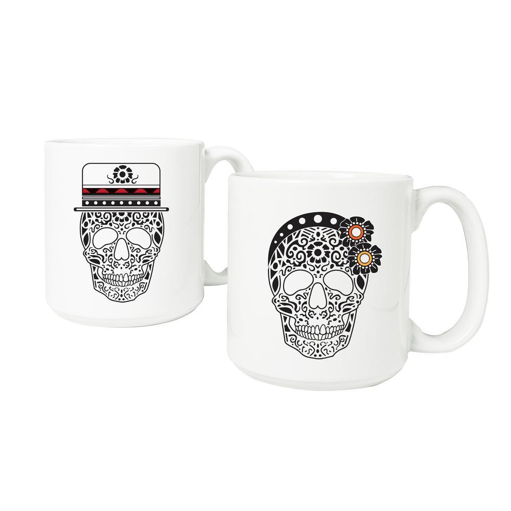 His Plus Hers Sugar Skull Large 20 oz. Coffee Mug Set