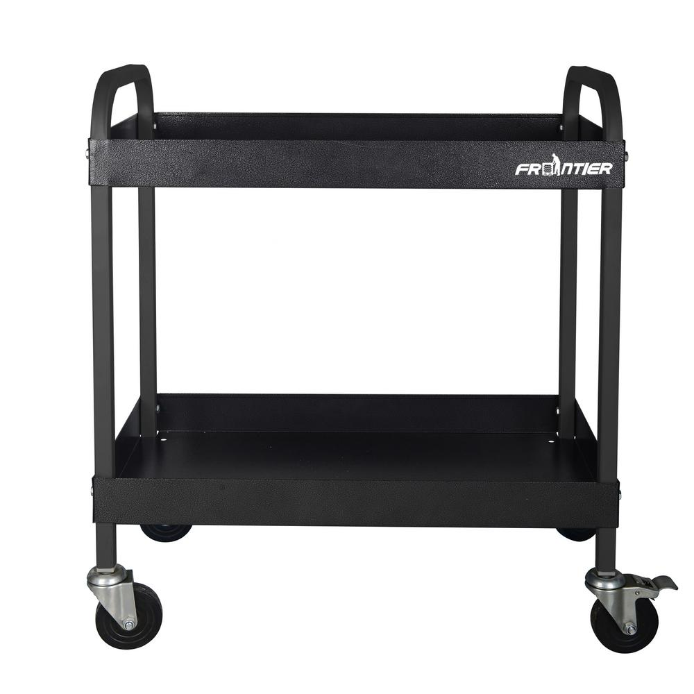 Frontier 30.25 inch 2-Tray Heavy-Duty Rolling Utility Tool Cart in Black