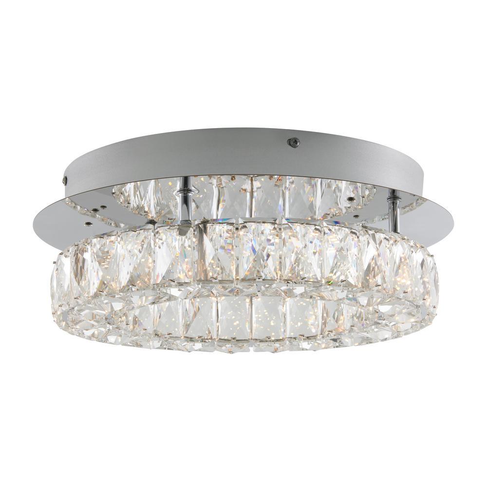 Celebrity 13.8 in. 1-Light Crystal LED Semi-Flush Mount