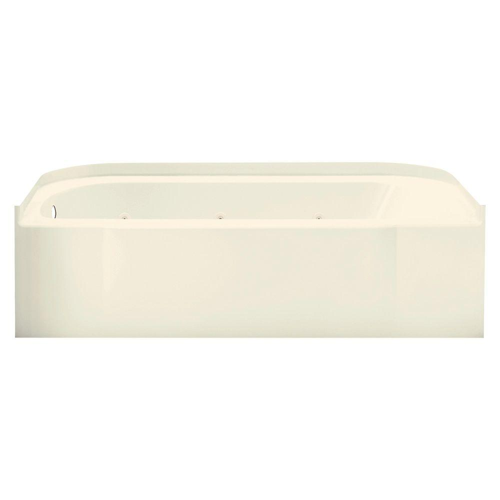 STERLING Accord 5 ft. Left-Drain Rectangular Alcove Whirlpool Bathtub in Biscuit