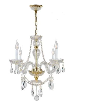 Provence Collection 4-Light Polished Gold with Clear Crystal Chandelier