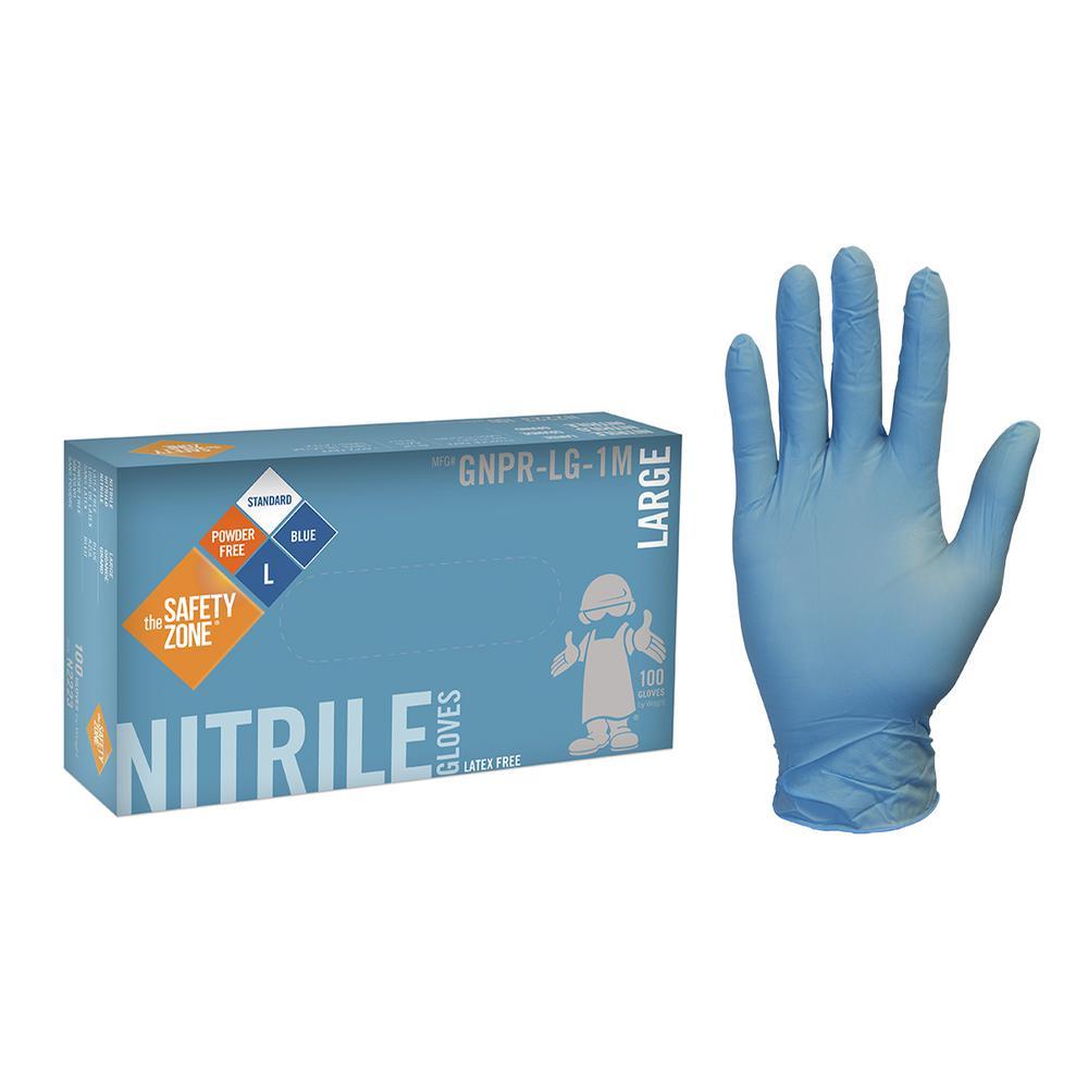 X-Large Blue Nitrile Glove Powder-Free Bulk 1000 (10-Pack of 100-Count)