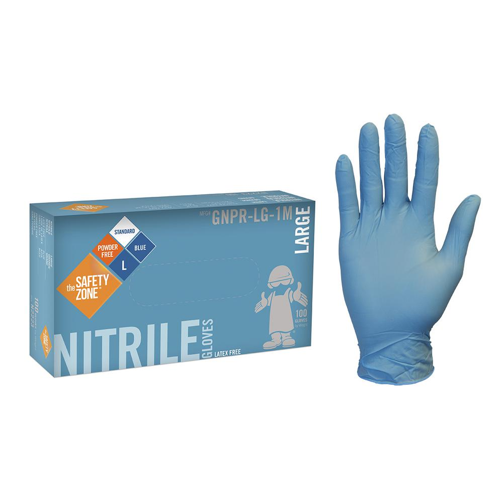 The Safety Zone X Large Blue Nitrile Glove Powder Free Bulk 1000 10 Pack Of 100 Count
